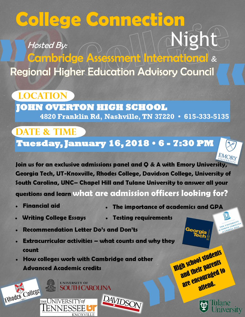 ... Council are hosting a College Connection Night at Overton High School  (@OvertonMNPS). Come learn about financial aid, admission requirements, and  more!